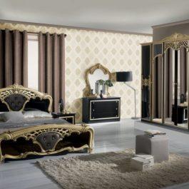 Eva Klassische Schlafzimmer Gold-Schwarz-1