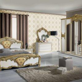 Eva Klassische Schlafzimmer Gold-Weiß-1