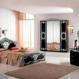 FPM Cristina Schwarz-Silber 4-türig Klassische Schlafzimmer