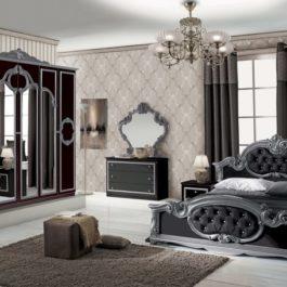 Barocco Klassische Schlafzimmer Schwarz-Silber-1