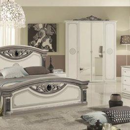 Giulia Weiß-Silber klassische Schlafzimmer