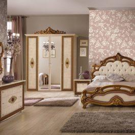 Silvia Beige Capitone Klassische Schlafzimmer 4 Türig