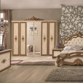 Silvia Beige Capitone Klassische Schlafzimmer 6 Türig