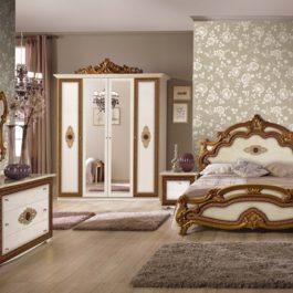 Silvia Beige Printed Klassische Schlafzimmer 4 Türig