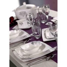 TAC Elegance Bone Kollektion Dynasty Platin Tafelservice, Geschirr Set - 85 teilig - 1002