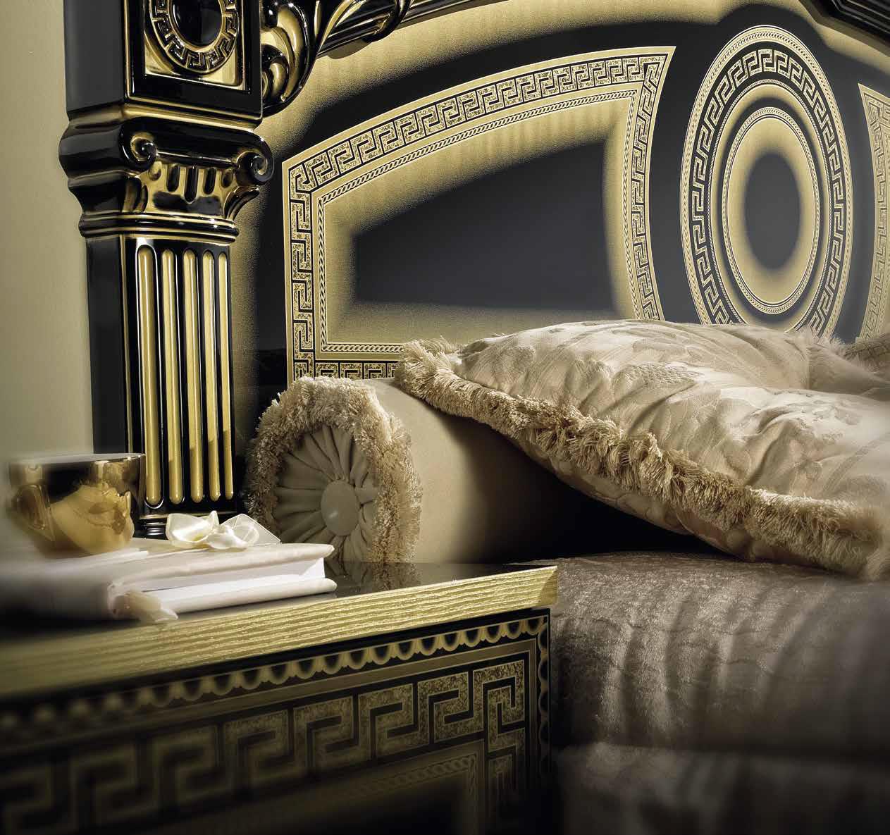 Elegant Aida Schwarz Gold Schlafzimmer