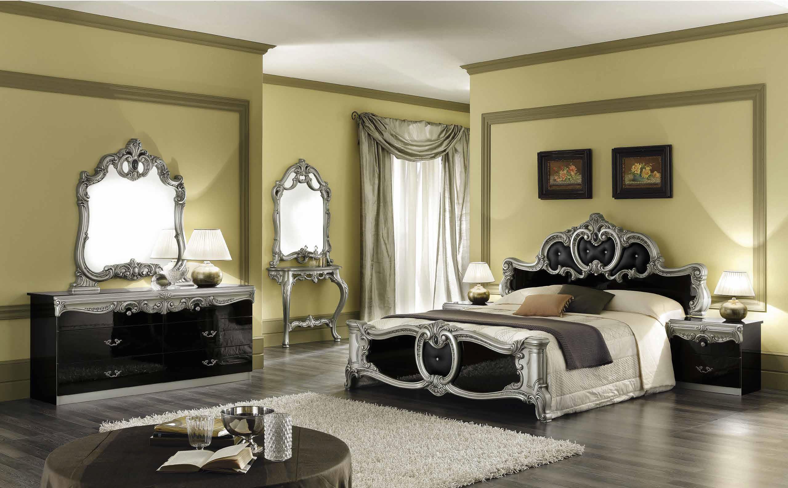 Schlafzimmer Schwarz Silber #19: Barocco Schwarz-Silber Schlafzimmer